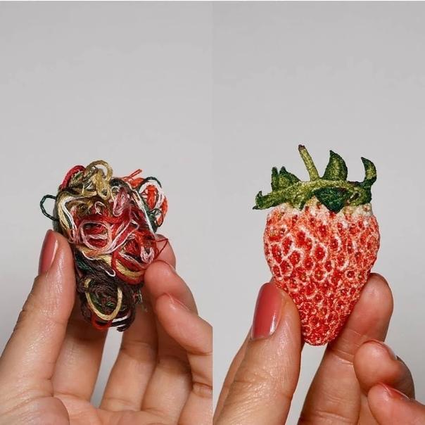 Жительница Японии ipnot восхитила интернет своими невероятно реалистичными вышивками в виде продуктов Работы девушки настолько реалистичны, что творения из ниток легко можно было бы спутать с