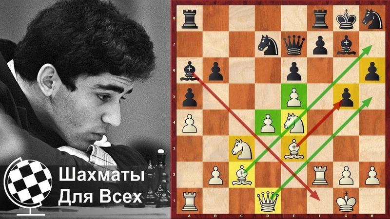 Шахматы Гарри Каспаров Жертва ДВУХ СЛОНОВ и красивая АТАКА НА КОРОЛЯ