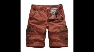 Мужские камуфляжные шорты карго, свободные мешковатые повседневные пляжные шорты в стиле милитари, с карманами