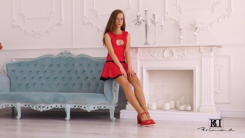 Model Hina red dress presentation, catwalk, posing agency Brima.d