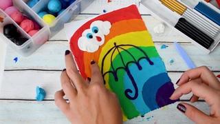 Пластилин: лепим из пластилина радугу и зонтик, пластилинография (УРОК 1)