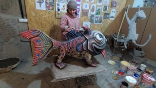 скульптура из  арт бетона  рыба  собака.  мастерская    на  дому.