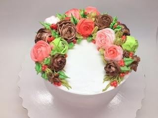 Оформление торта БЗК ( Рождественский венок ) Новогодние мотивы