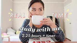 REAL TIME study with me (no music):  hour pomodoro session with breaks (background noise)