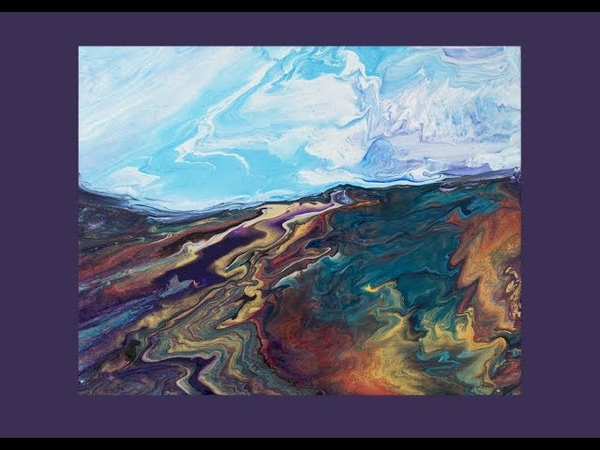 Fluid Acrylic Pouring Tilted Swiped Skewered Awesome Landscape Blue Sky Day 5360 7 05 19