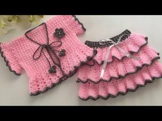 Tığ işi Fırfırlı 3 Katlı Bebek Eteği Nasıl Yapılır/Farbalalı Bebek Etek/Baby Dress/Baby Skirt