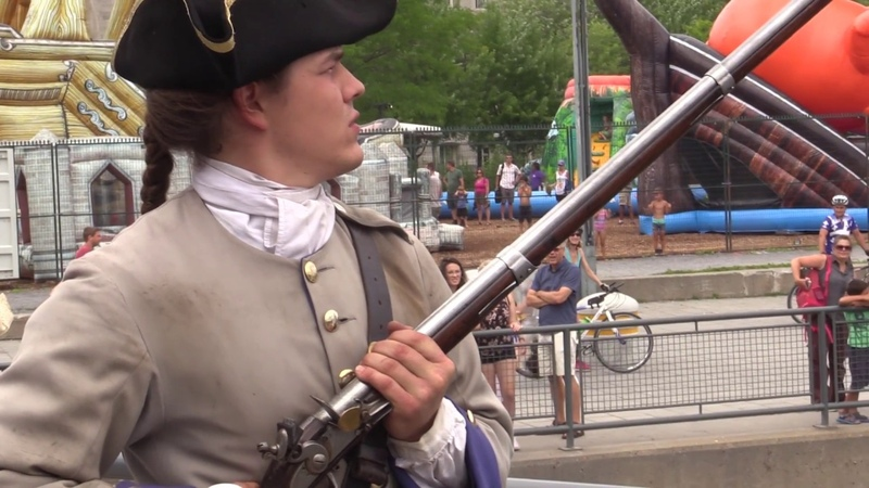 Firing a musket in the Old Port of Montreal