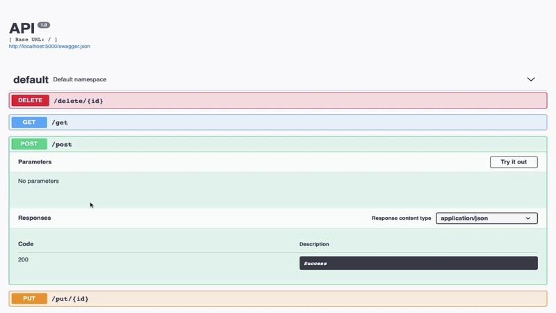 Python Swagger Flask REST API Documentation Swagger Flask REST API SQLAlchemy Marshmallow