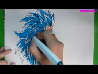 vẽ tranh Goku siêu xayda cấp 3-Drawing ssj3 blue