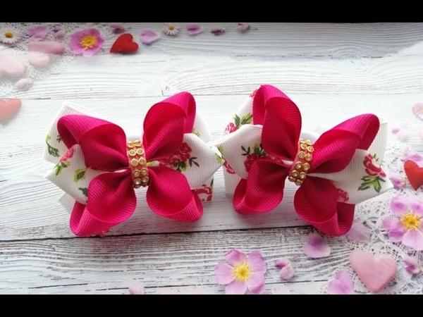 Бантики из репсовой ленты 2 5 см. МК The bow of REP ribbons. La os de fitas.