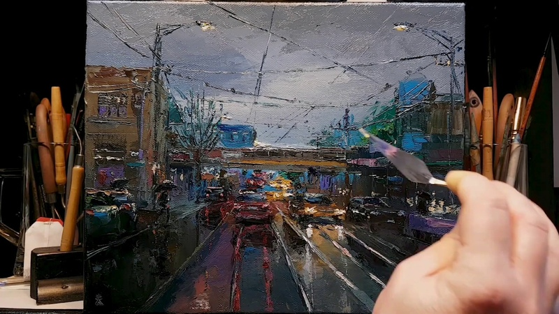 In the Rain - Going Home - Palette Knife Brush Oil Painting - Relaxing Art Therapy - Dusan