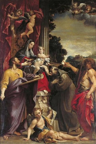 «Мадонна на троне со Св. Матфеем», Аннибале Карраччи 1587г. Холст, масло. Размер: 384 x 255 см. Картинная галерея. Дрезден Для профессионального становления Карраччи огромное значение имели две