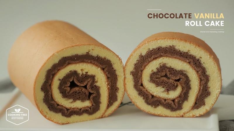 초코 바닐라 스위스 롤케이크 만들기 Chocolate Vanilla Swiss Roll Cake Recipe Cooking tree