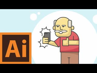 Selfie Grandpa Character - Illustrator Flat Design Creation Process