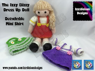 Сарафан для куклы  из резинок Rainbow Loom Loomigurumi Izzy Bizzy Doll - Mini Skirt - crochet hook only