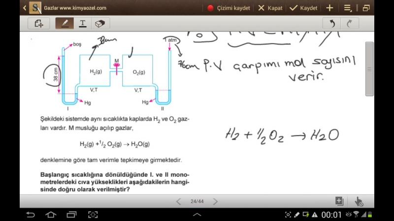 Gazlar ( Gazların karıştırılması ve Tepkimeli gaz sorulari ) LYS