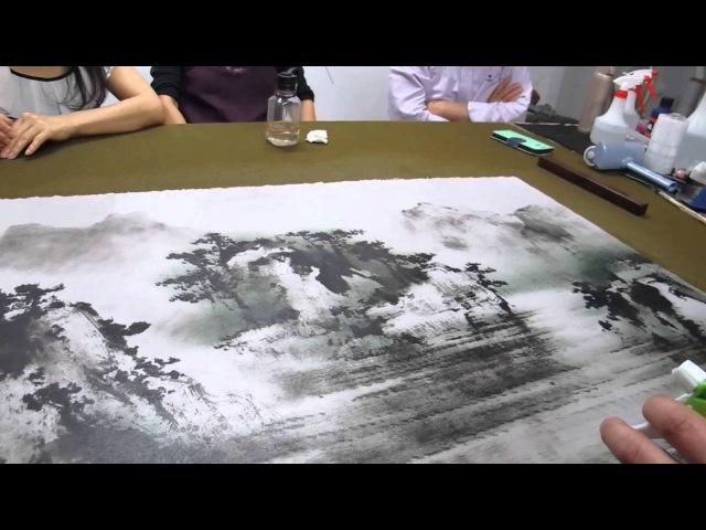 MVI 0633南菁藝術學院賴明郎教授現場示範山水畫作上色教學