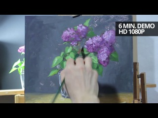 How to paint lilac flowers with oils demonstration video by Aleksey Vaynshteyn