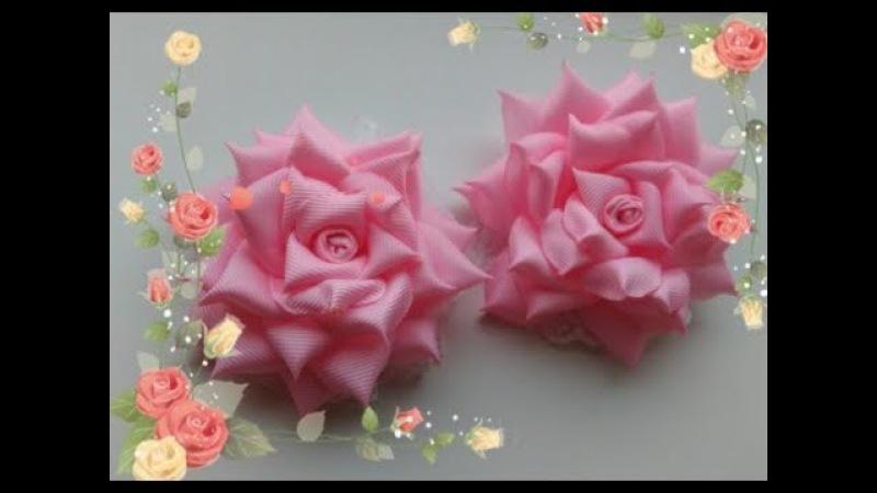 Бантики Розы из репсовых лент 2 5 см. МК Канзаши Bows rose of REP ribbons 2.5 cm. MK Kanzashi