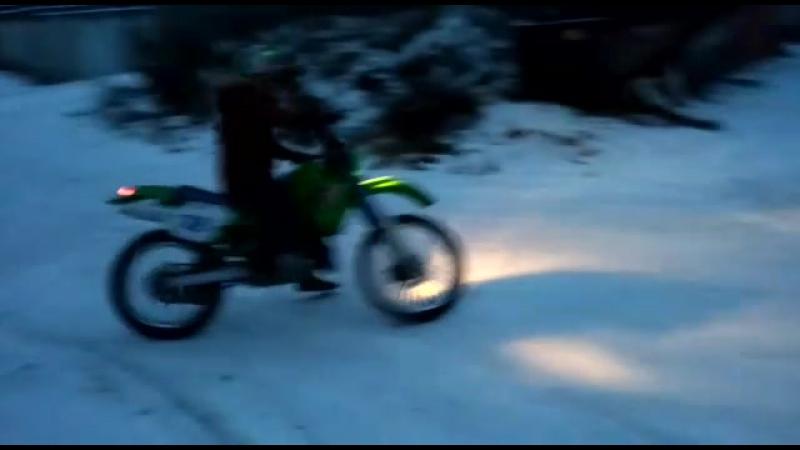 KDX на летней резине по снегу