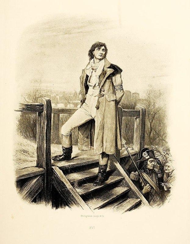 Сидни Картон на эшафоте. Иллюстрация Фреда Барнарда. Англия, 1892 год