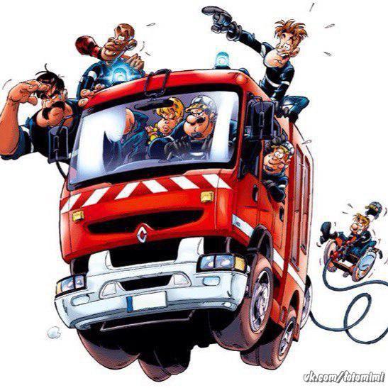 смешные рисунки карикатура пожарного