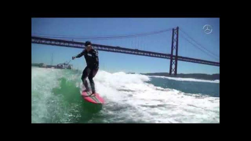 McNamara surfa onda no Tejo das Docas a Belém!