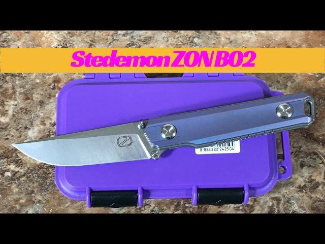 Stedemon ZKC B02 titanium linerlock knife with blue or burple Anodized scales CTS 204P steel blade