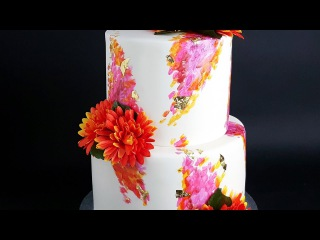 painted two tier engagement / wedding cake- Rosie's Dessert Spot