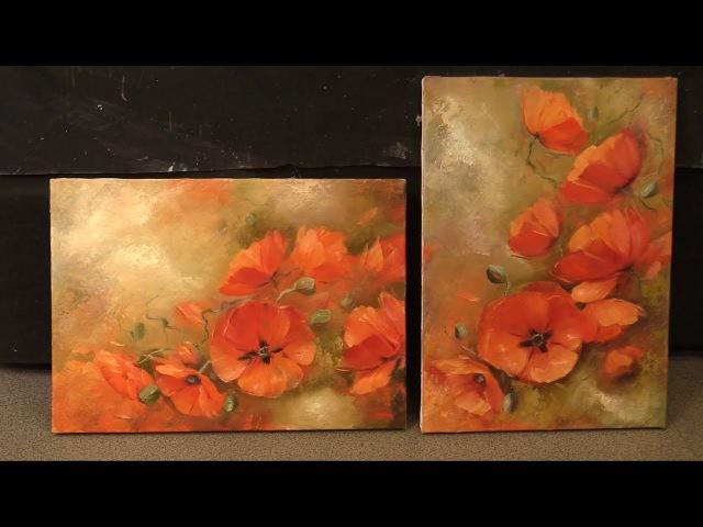 Маки на оливковом фоне Poppies on olive background Workshop Уроки живописи маслом в Москве