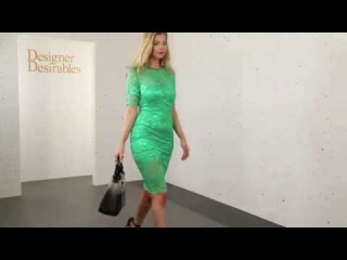 Goddess London Elegant Green Lace Pencil Dress