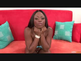 Hot Ebony slut Jada Fire sucks and strokes this guy's big white cock, her big mocha tits bounce up and down and she squirts whil