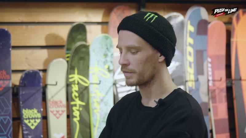 Гриша Фузеев помогает выбрать горные лыжи крепления и ботинки