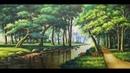 Phong cảnh con đường bên rừng cây sồi_ sơn dầu,