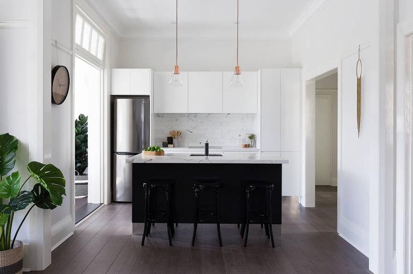 Черно-белая кухня – особенности контрастного дизайна., изображение №3