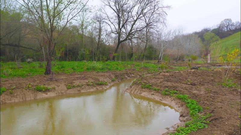 Система удержания воды на участке. Лесосад с нуля. Ручей. Проточный пруд.