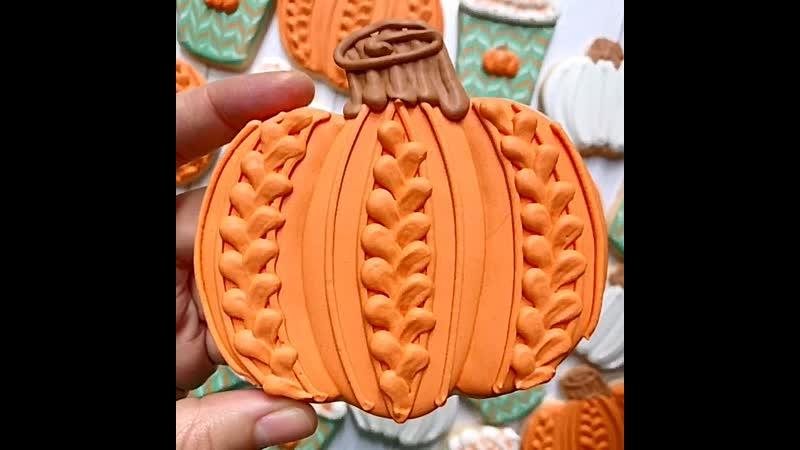Как украсить печенье в виде тыквы. / Наша группа в ВК: Торты на заказ. мировые шедевры.