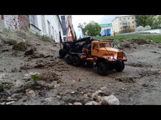 """РУ модель КрАЗ-255Л1  """"Лесовоз"""" в масштабе 1:43 с полным приводом / RC Russian truck KRAZ-255L1 scale model"""