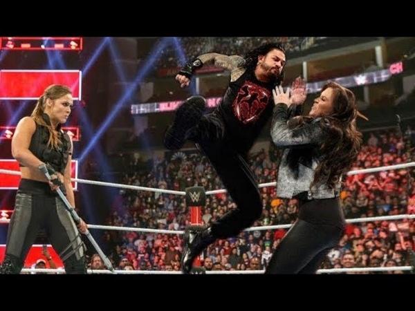 Roman Reigns attacks Stephanie Mcmahon,Triple h,Brock Lesnar,kane,Seth Rollins,John Cena