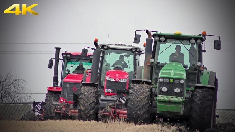 Тракторы Кировец К 744Р3 Massey Ferguson 8737 и John Deere 8430 в одной борозде вспашка 2019