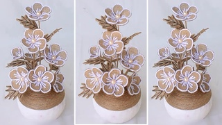 Jute rope craft ideas | Jute flowers decoration | Diy home decor