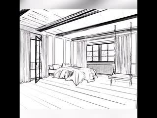 """Эскиз из курса """"Дом мечты"""" - спальня"""