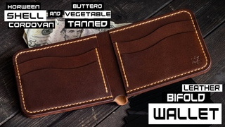 #014 Making Horween SHELL CORDOVAN & vegetable tanned leather bifold wallet How its made? DIY How to