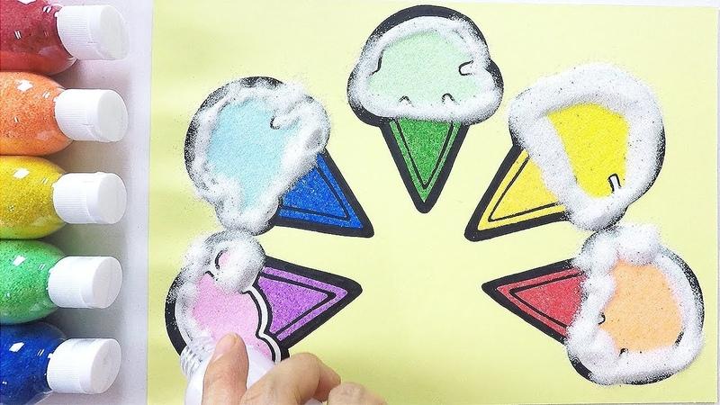 Sweet Ice creams coloring drawing studying English for kids ㅣ 달콤한 아이스크림 그리기 색칠하기 영어 공부