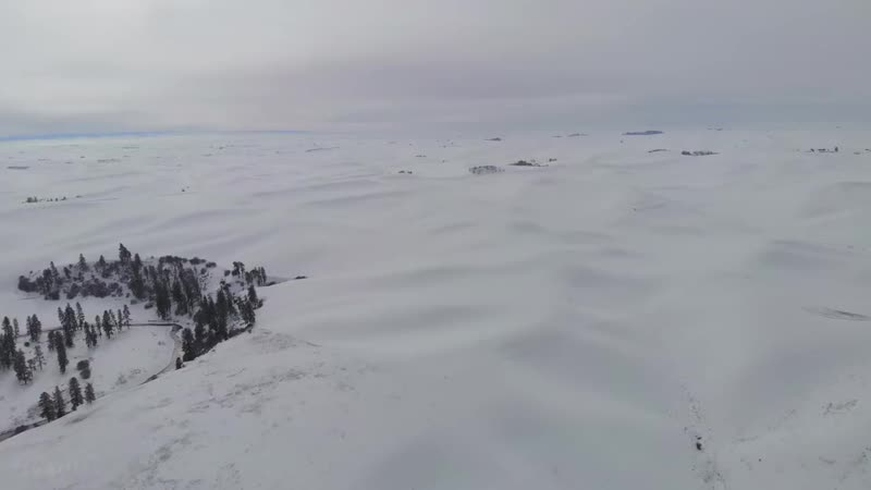 4K Drone Footage - Bird's Eye View of Snow-Covered Eastern Washington - 4 Hours