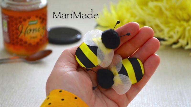 Резиночки Пчелки из Ленты для Девочек МК Ribbon Bee Hair Bobbles