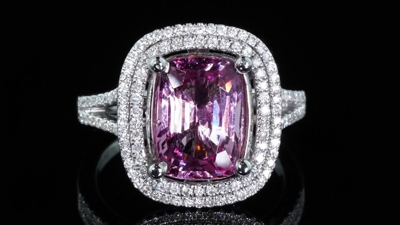 Pink Spinel and Diamond Cocktail Engagement Ring GIA CERTIFIED 14k White Gold 4.14 tcw Double Halo