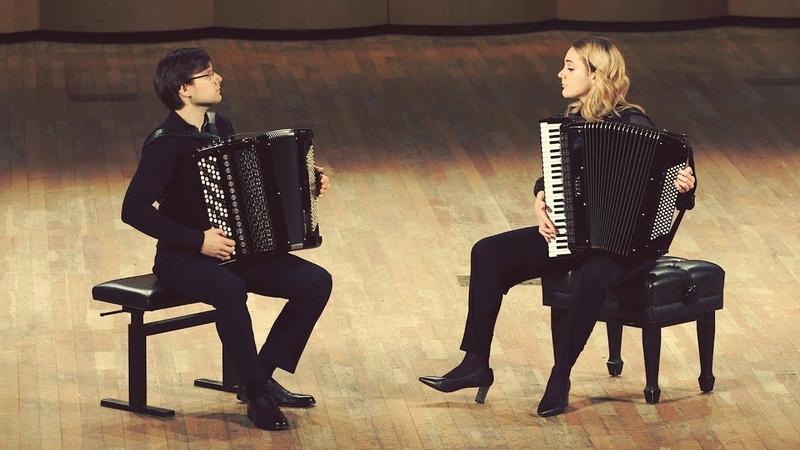 """SEMENOV Toccata Barbaro"""" Ilona Savina and Nikita Ukrainskiy accordion @ bayan DUO"""