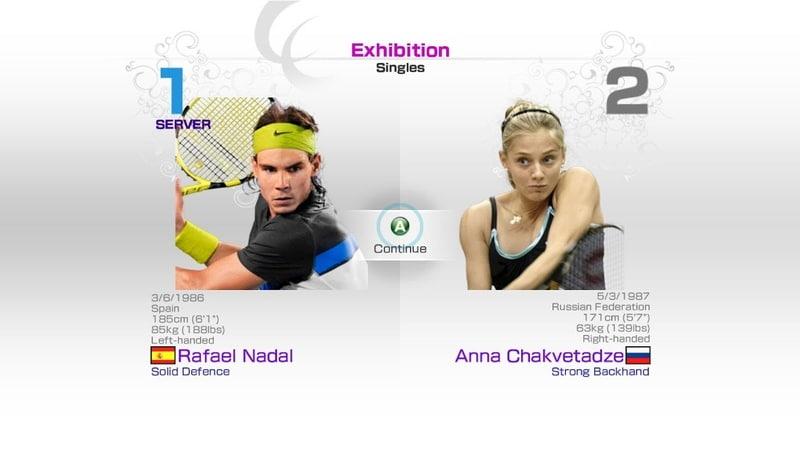 Virtua Tennis 4 Sega Rafael Nadal vs Anna Chakvetadze Rafael Nadal Roger Federer Andy Murray