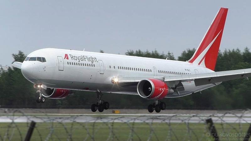 Royal Flight Boeing 767-300ER   Wet landing with water sprays at St. Petersburg airport